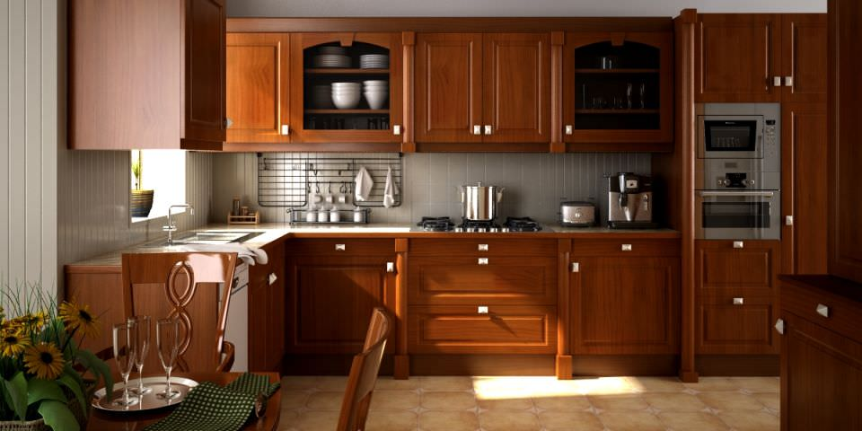 Model Kitchen scene of kitchen fully furnished and decorated with wooden de