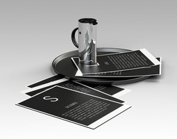 Tray Jug and Papers 3D