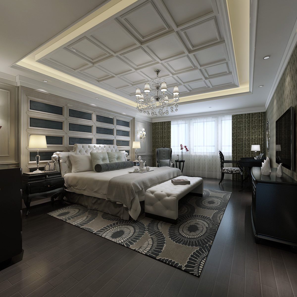 Luxurious bedroom with white bed 3d model max for Model bedroom interior design