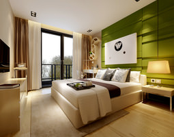 Modern Bedroom With Green Wall 3D
