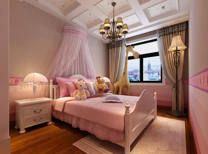Pink Girls Bedroom 3D Model