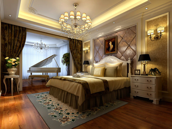 luxurious bedroom  with big bed fully furnished 3d model max 1