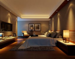3d modern bedroom  with wooden floor fully furnished