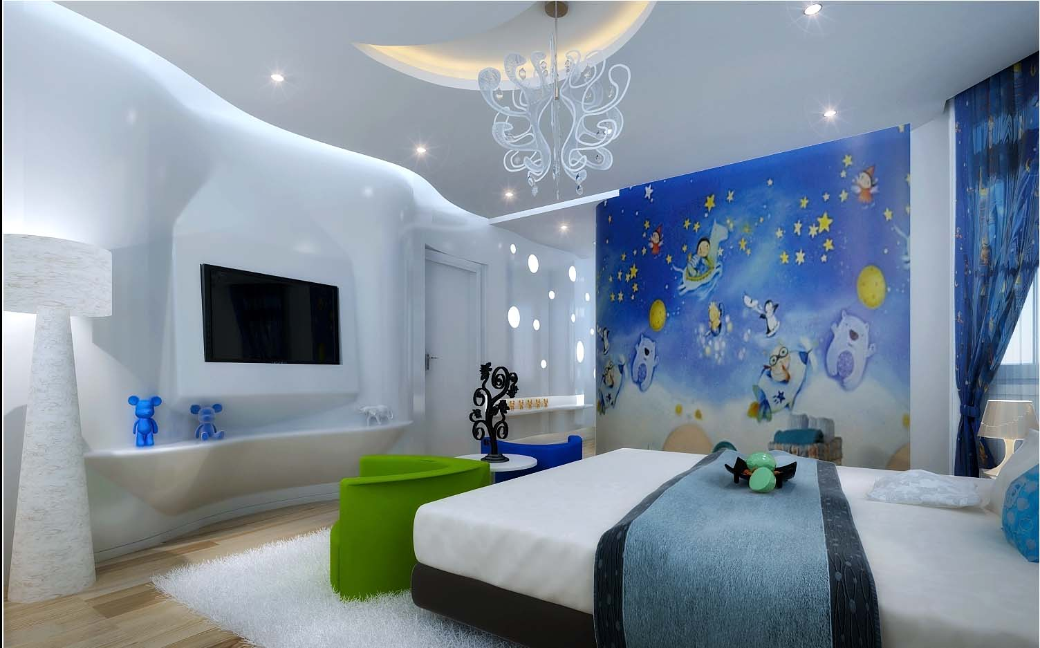 Model Bedroom Alluring 3D Model Kids Bedroom With Tv  Cgtrader Decorating Inspiration