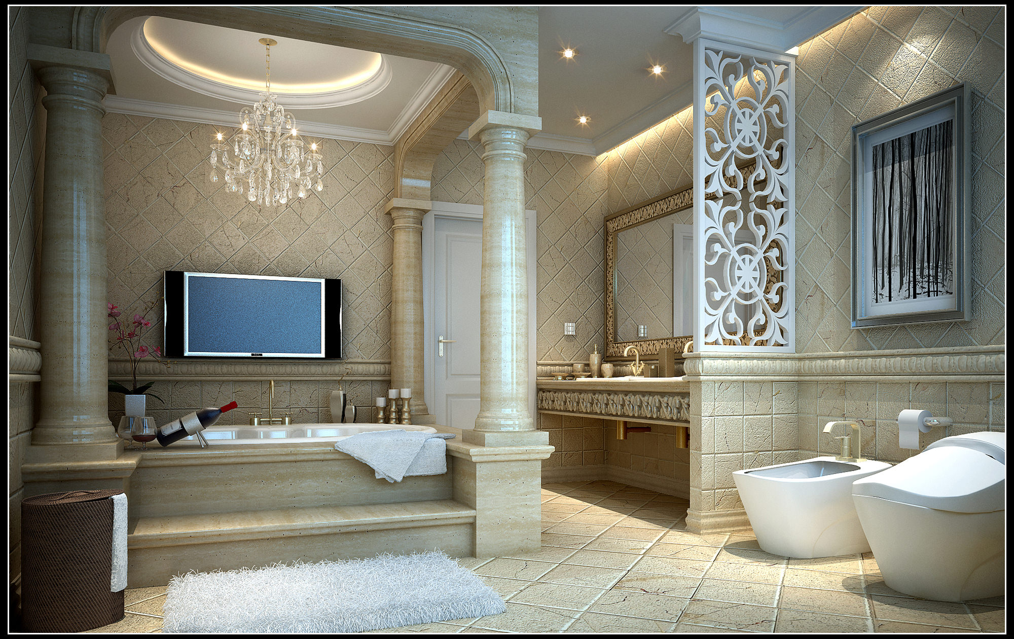 Bathroom Model Luxurious Bathroom Fully Furnished And Decorated 3D Model Max