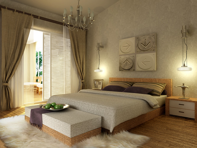 Modern Bedroom With Wooden Floor Fully Furnished 3d Model Max