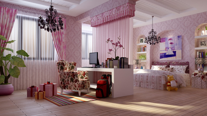 Kids Bedroom 3d Model kids bedroom with chair 3d model | cgtrader