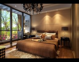 modern brown  bedroom  with wooden floor fully furnished 3d