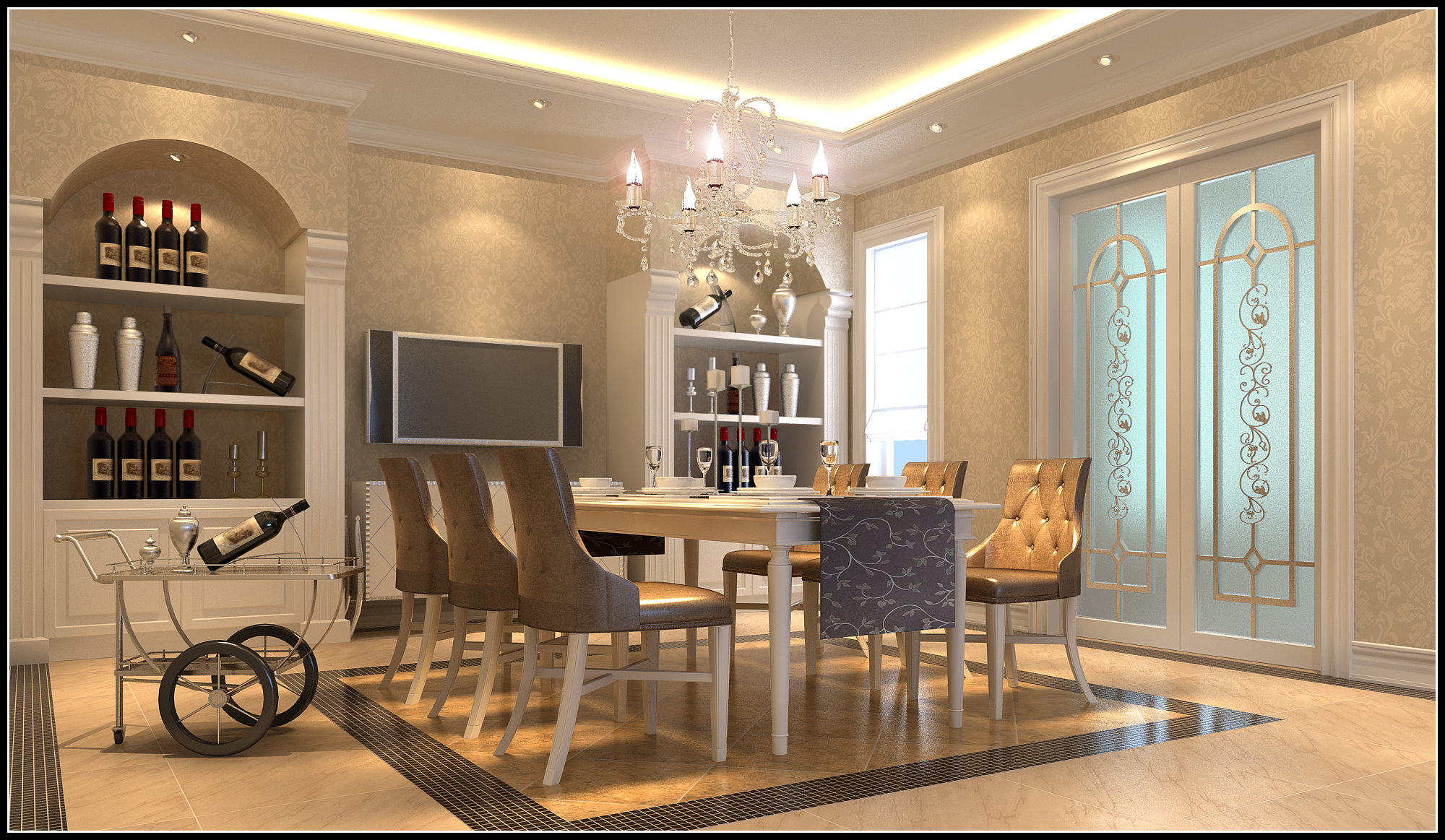 Luxurious Dining Room With Marble Floor Fully Furnished 3d Model Max 1
