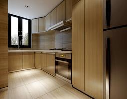 interior Wooden Kitchen 3D model