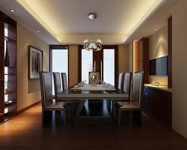 modern dining room with wooden floor fully furnished 3d model max 1