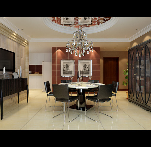 modern dining room with marble floor fully furnished 3d model max 1