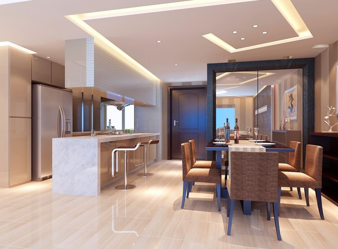 Modern dining room with wooden floor fully furnished 3d for Dining room 3d max model