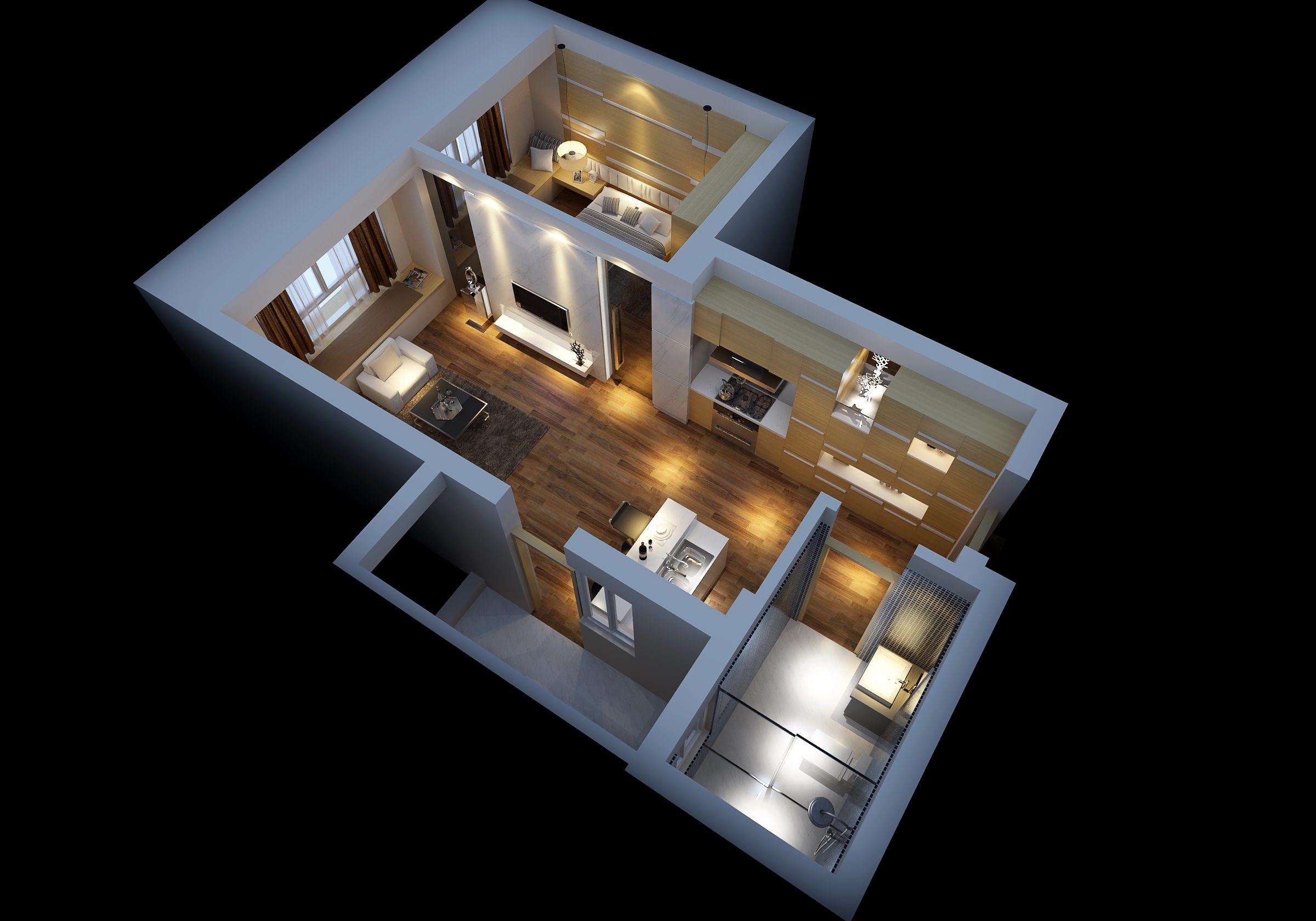 Modern house interior with wooden floor fu 3d model max for 3d decoration models