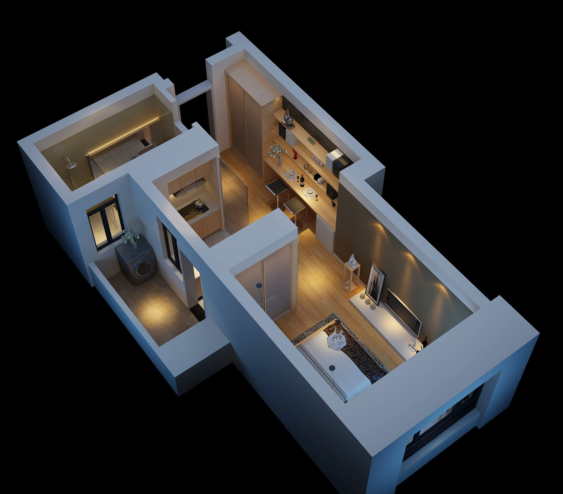 Modern House With Wooden Floor Fully Furnished 3D Model M ... - ^