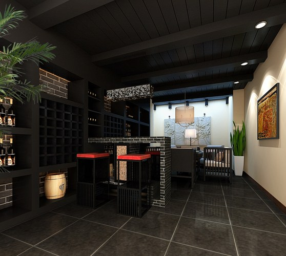 Modern restaurant interior d model architecture cgtrader