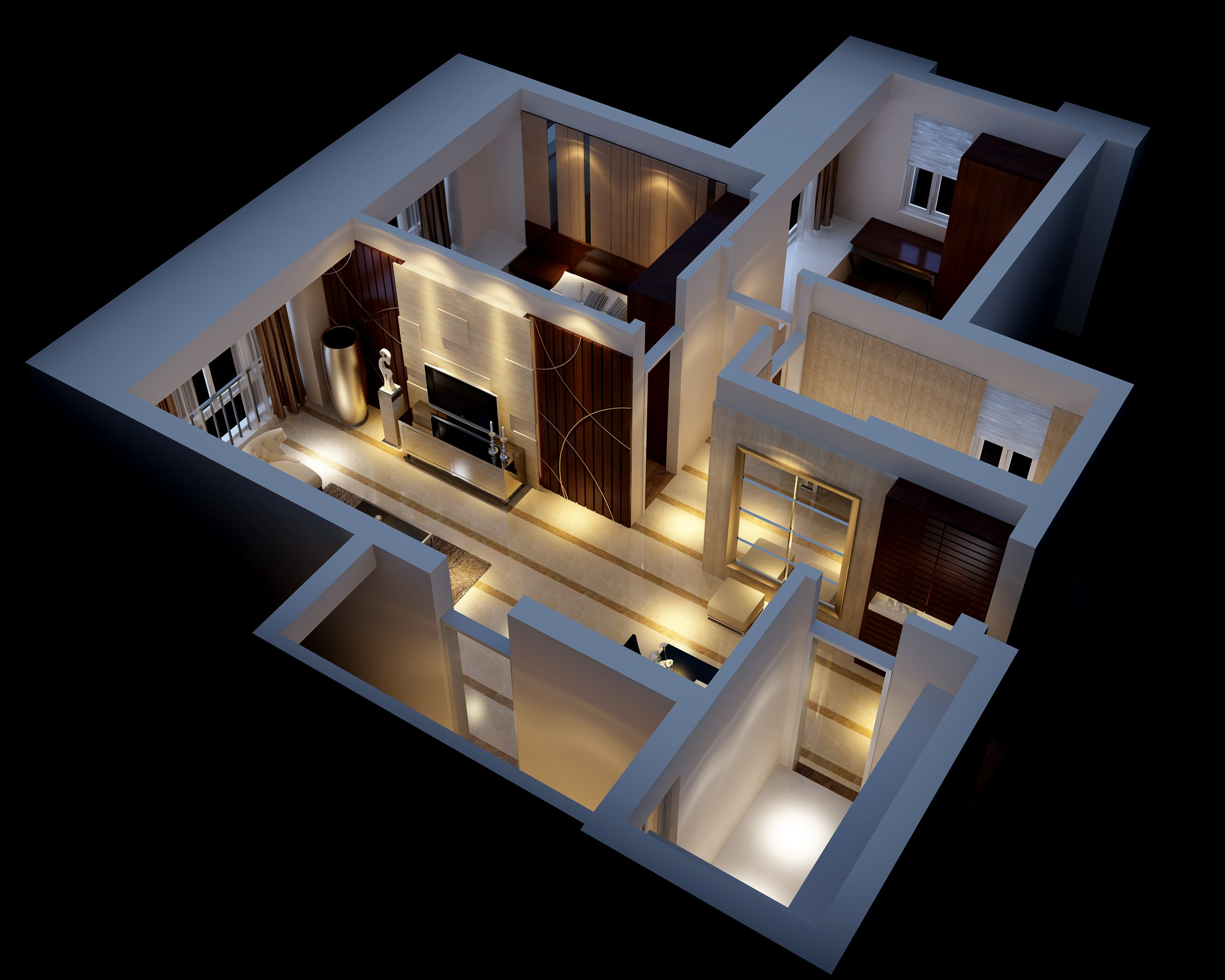 Modern house interior fully furnished 3d model max for Model bedroom interior design