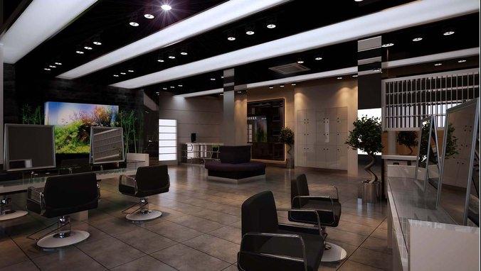 3d modern salon interior cgtrader for Salon interior design software