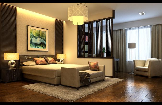 Collection modern bedroom fully furnished collection 3d for Model bedroom interior design