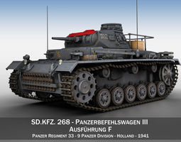panzer-3 PzBefWg III - Ausf F - 9 PzDiv 3D