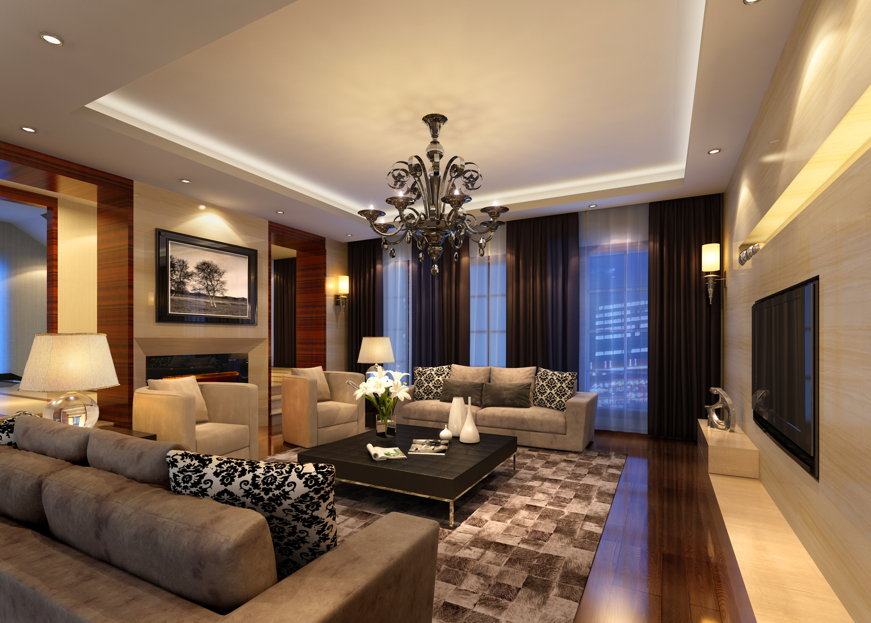 Collection living room and bedroom collection 3d model max for Model home interior design firms