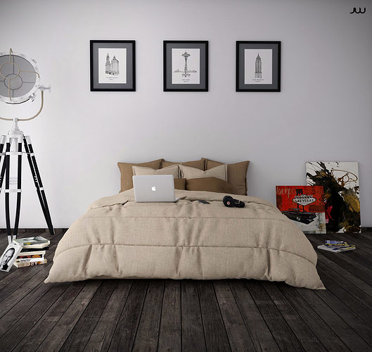 3d model bedroom minimalist cgtrader for Minimalist house sketchup
