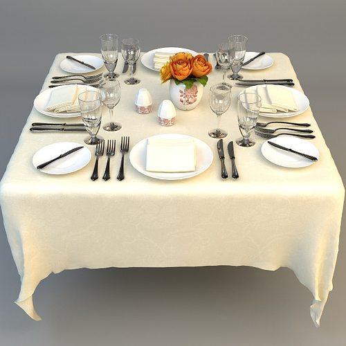 Dining Table Place Settings 3D model & 3D model Dining Table Place Settings | CGTrader