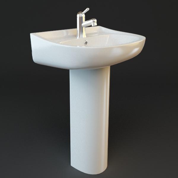 D Bathroom Pedestal Sink CGTrader - Bathroom pedestal sinks