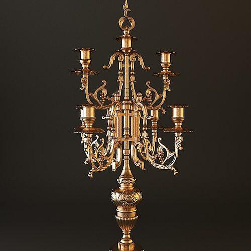 ornate antique brass candelabrum 3d model max obj mtl 3ds fbx 1
