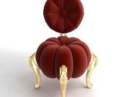 3D Baroque Red Velvet Chair
