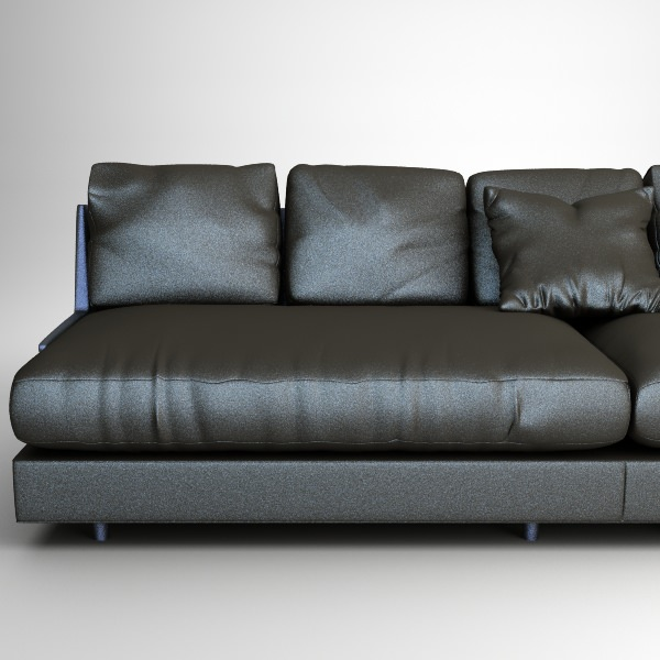 D Model Contemporary Black Leather Sofa CGTrader - Contemporary leather furniture