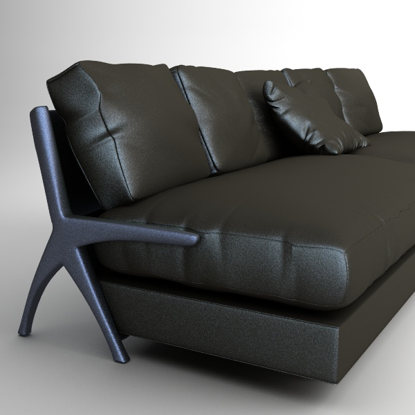 Contemporary Black Leather Sofa Model