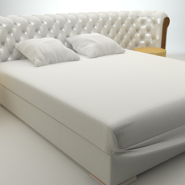 Padded headboard bed 3d model max obj 3ds for 3ds max bed model