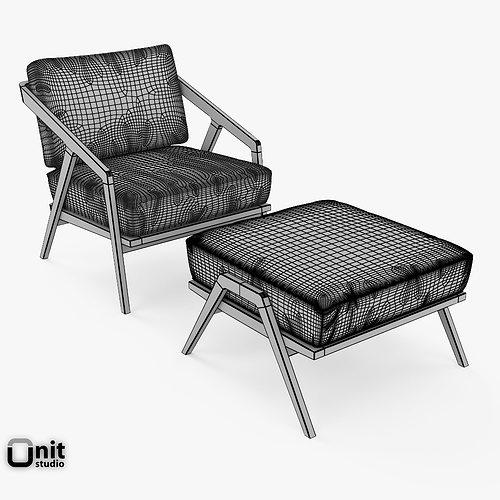 ... Katakana Lounge Chair Ottoman By Dare Studio 3d Model Max Obj 3ds Fbx  Dwg Unitypackage 7 ...