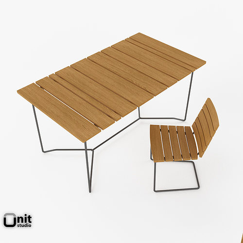 Skargaarden outdoor table and chair 3d model cgtrader for Outdoor furniture 3d max