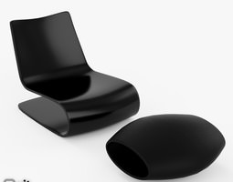 vague 3D model Novelle Vague Chair and Ottoman Porro