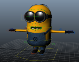 animated 3d model minion rigging character