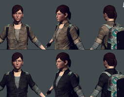 messenger - female survivor game model realtime 3d asset