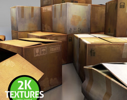 game-ready 3d model cardboard boxes