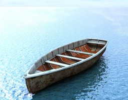 wooden boat game-ready 3d asset