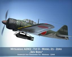 Mitsubishi A6M2 Sen Baku - Kamikaze Unit 3D model