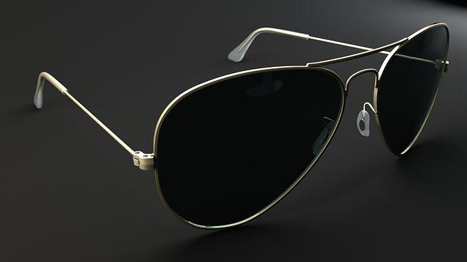 ray ban aviator glass models  ray ban aviator 3d model