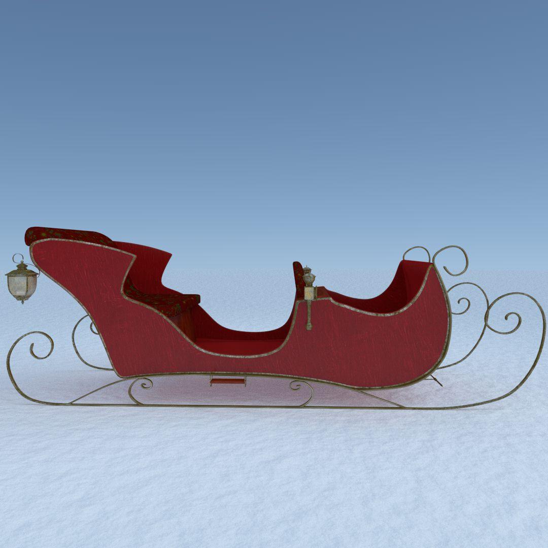 3d santa sleigh cgtrader