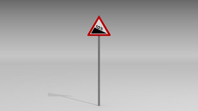 steep road sign 3d model obj mtl blend 1