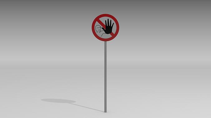 no admittance sign 3d model obj blend mtl 1