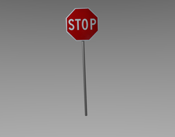 stop sign low-poly 3d asset