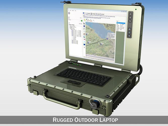 rugged military outdoor laptop 3d model obj mtl 3ds fbx c4d lwo lw lws 1