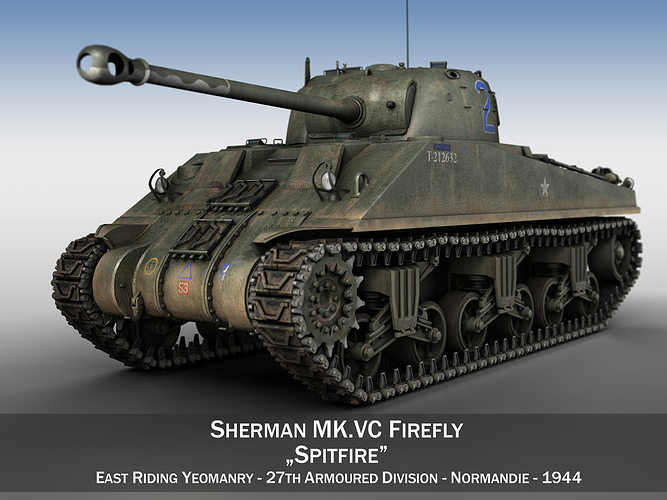 sherman mk vc firefly - spitfire 3d model obj mtl 3ds fbx c4d lwo lw lws 1