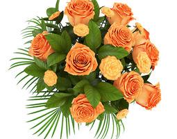 orange roses in white vase 3d model