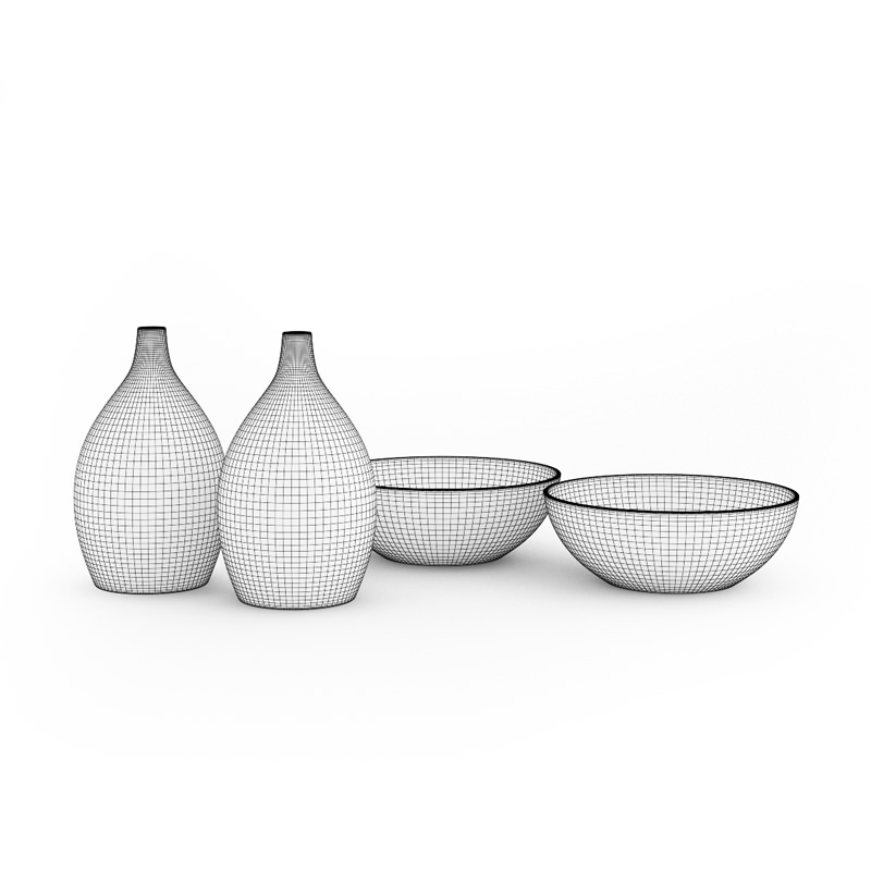 Bowls And Vases Set 3d Model Cgtrader
